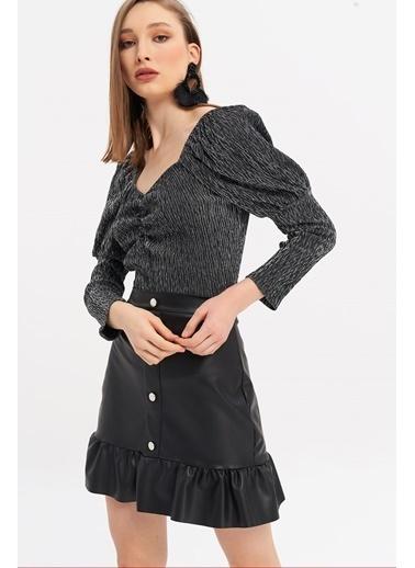 ESQ Desenli U Yaka Bluz Siyah